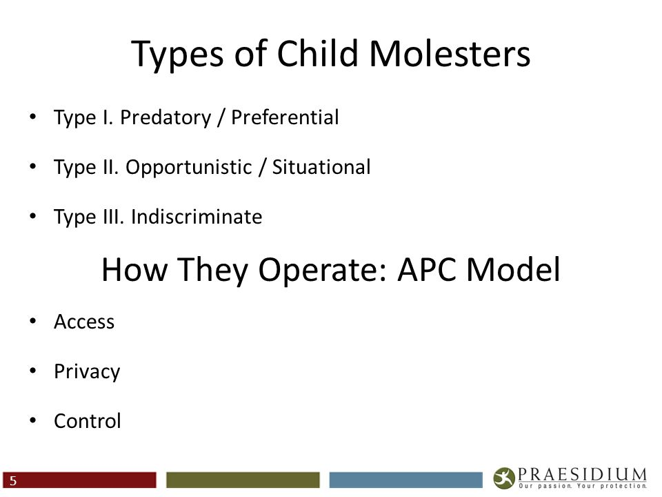 Types of Child Molesters Type I. Predatory / Preferential Type II. Opportunistic / Situational Type III. Indiscriminate How They Operate: APC Model Ac