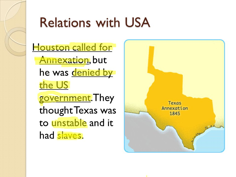 Relations with USA Houston called for Annexation, but he was denied by the US government.