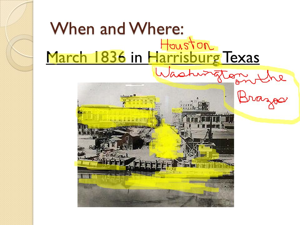 When and Where: March 1836 in Harrisburg Texas