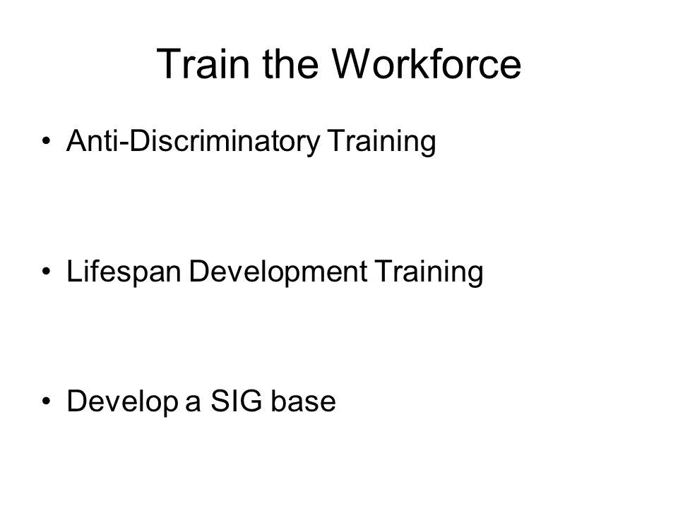 Train the Workforce Anti-Discriminatory Training Lifespan Development Training Develop a SIG base