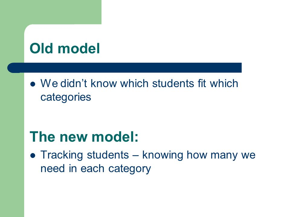 Old model We didn't know which students fit which categories The new model: Tracking students – knowing how many we need in each category