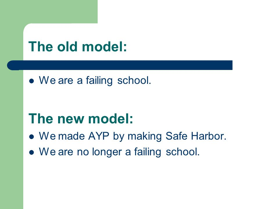 The old model: We are a failing school. The new model: We made AYP by making Safe Harbor. We are no longer a failing school.