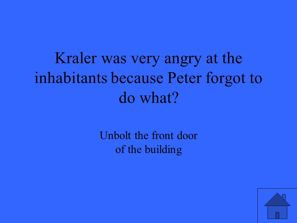 Kraler was very angry at the inhabitants because Peter forgot to do what.