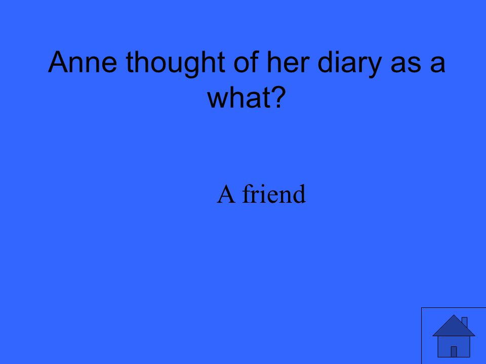Anne thought of her diary as a what? A friend