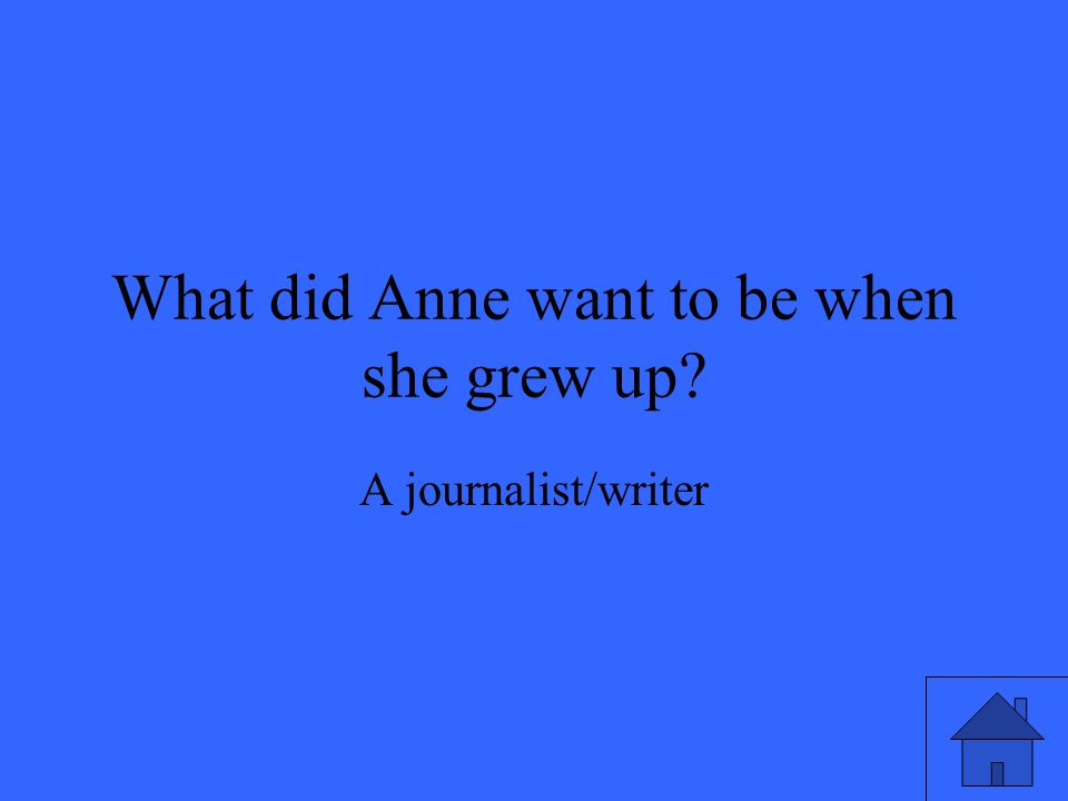 What did Anne want to be when she grew up? A journalist/writer