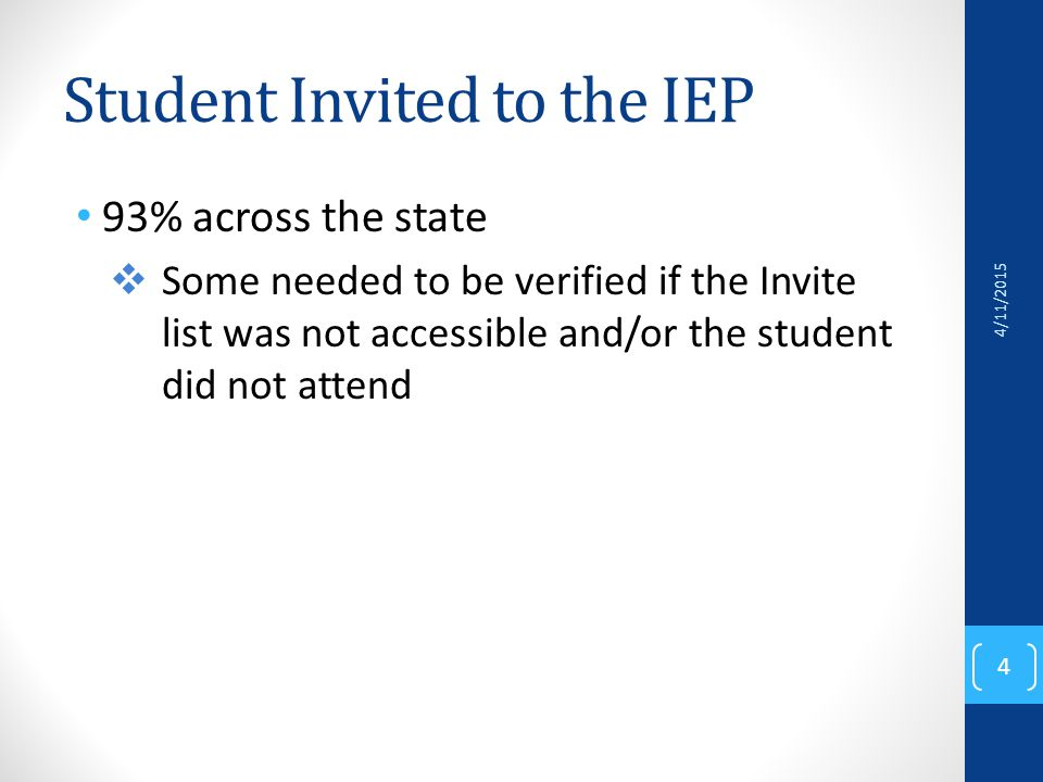 Student Invited to the IEP 93% across the state  Some needed to be verified if the Invite list was not accessible and/or the student did not attend 4/11/2015 4