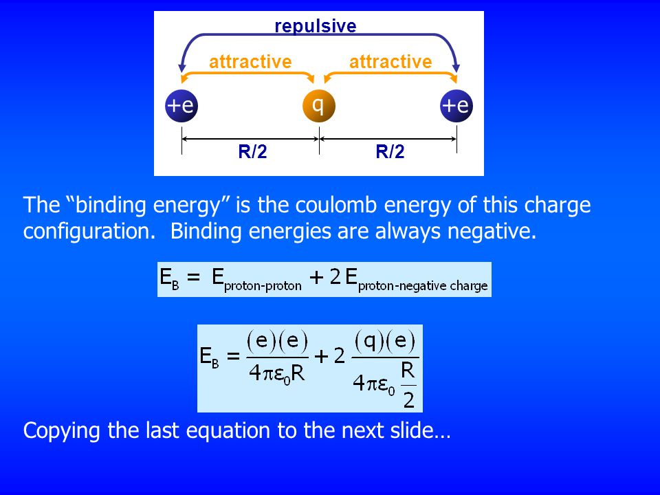 "attractive repulsive R/2 The ""binding energy"" is the coulomb energy of this charge configuration. Binding energies are always negative. Copying the la"