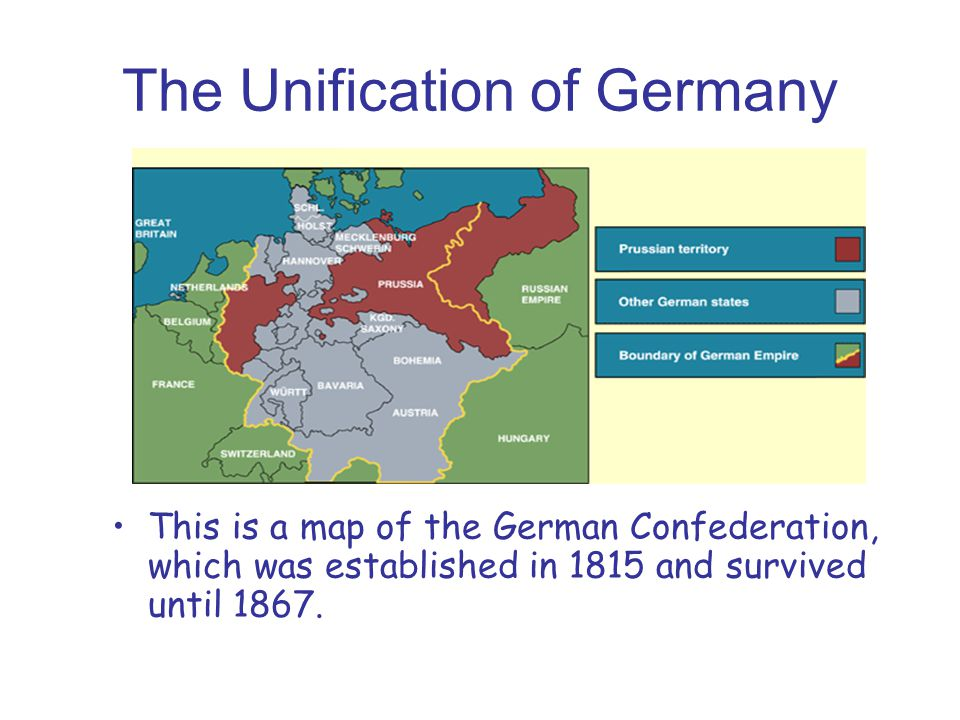 The Unification of Germany This is a map of the German Confederation, which was established in 1815 and survived until 1867.