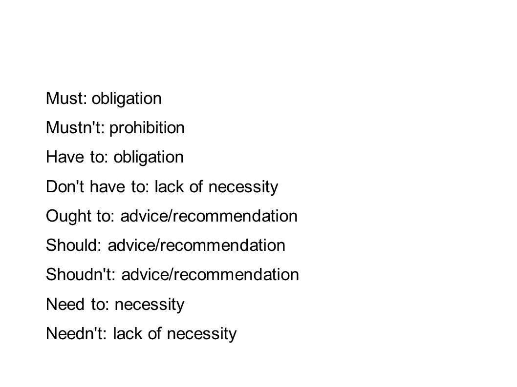 Must: obligation Mustn't: prohibition Have to: obligation Don't have to: lack of necessity Ought to: advice/recommendation Should: advice/recommendati