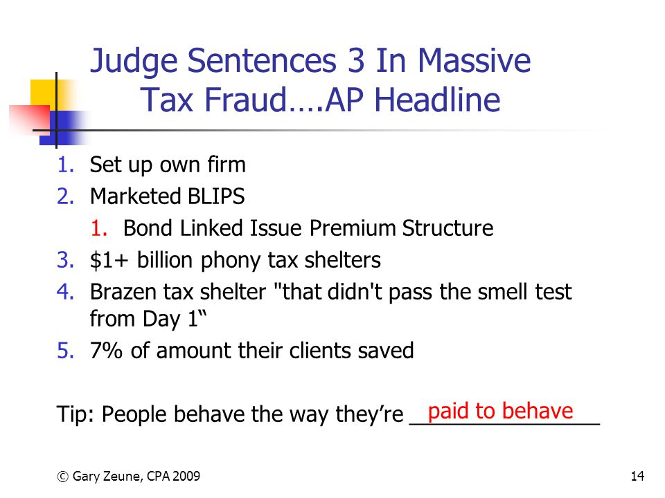 © Gary Zeune, CPA 200914 Judge Sentences 3 In Massive Tax Fraud….AP Headline 1.Set up own firm 2.Marketed BLIPS 1.Bond Linked Issue Premium Structure