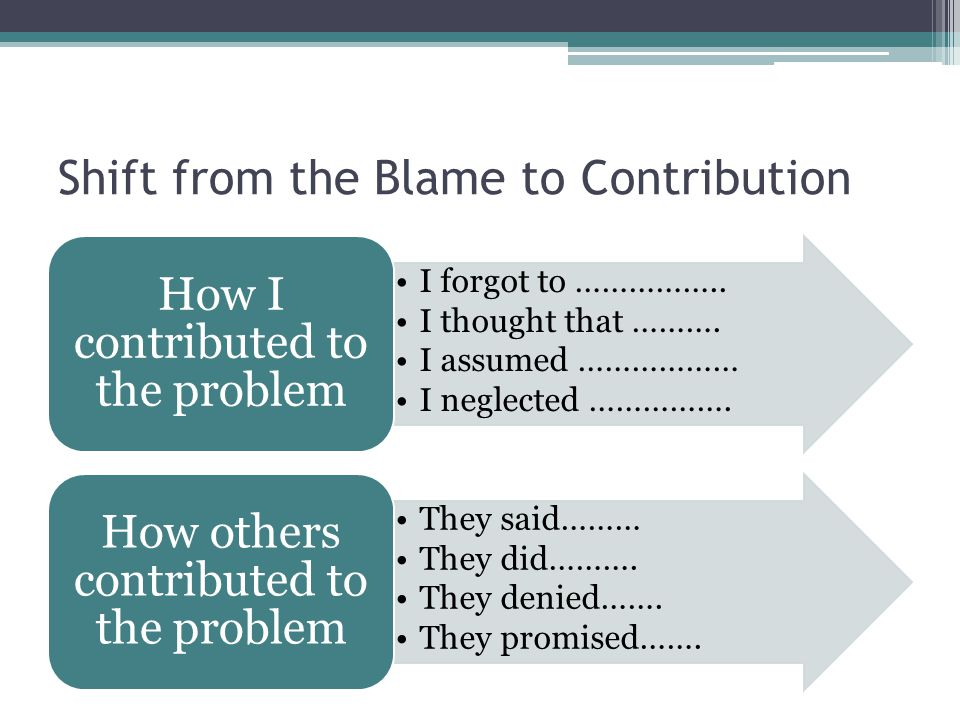 Shift from the Blame to Contribution I forgot to …………….. I thought that ………. I assumed ……………… I neglected ……………. How I contributed to the problem They