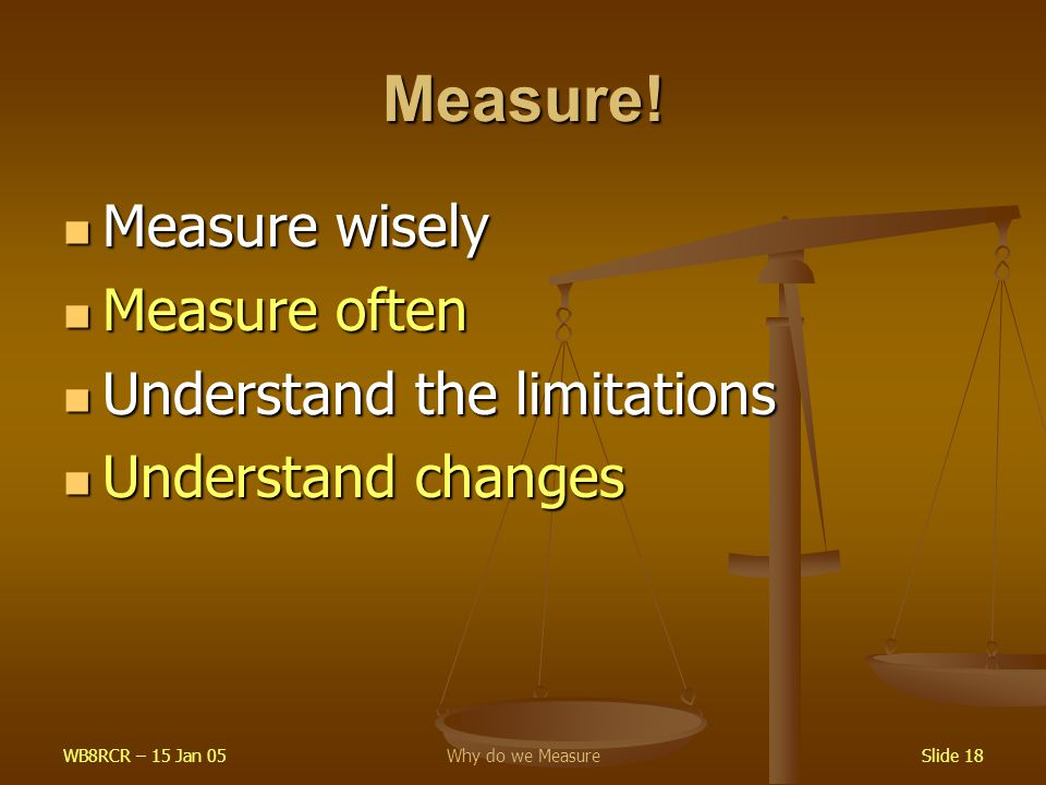 WB8RCR – 15 Jan 05Why do we MeasureSlide 18 Measure! Measure wisely Measure wisely Measure often Measure often Understand the limitations Understand t