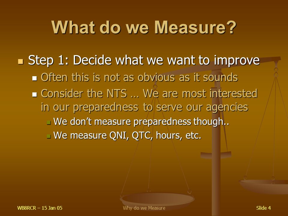 WB8RCR – 15 Jan 05Why do we MeasureSlide 4 What do we Measure? Step 1: Decide what we want to improve Step 1: Decide what we want to improve Often thi