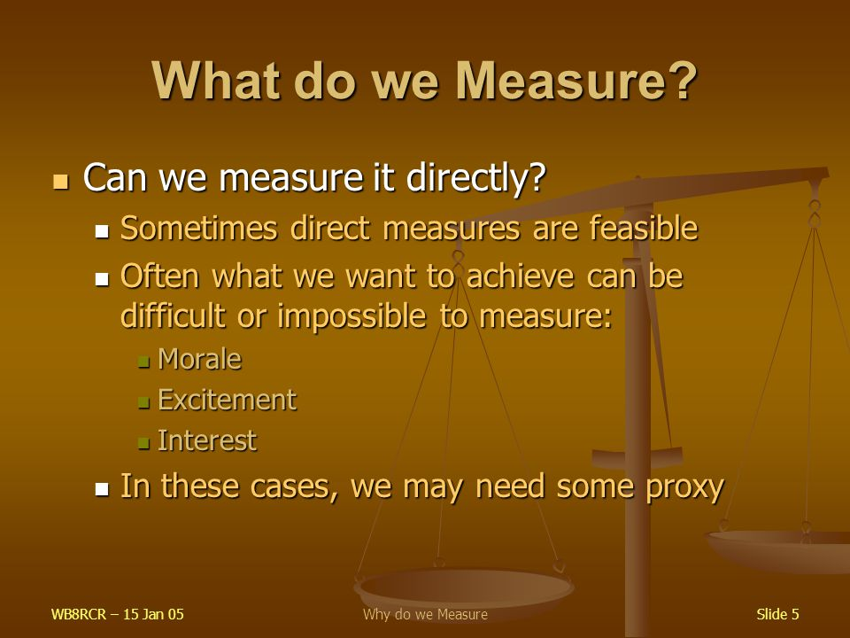 WB8RCR – 15 Jan 05Why do we MeasureSlide 5 What do we Measure.