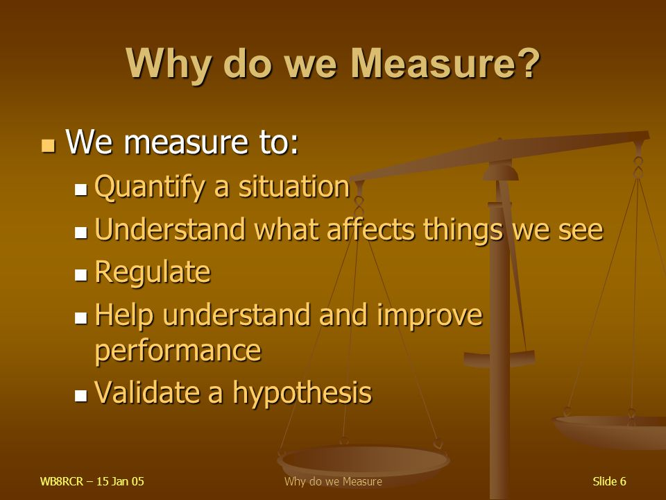 WB8RCR – 15 Jan 05Why do we MeasureSlide 6 Why do we Measure? We measure to: We measure to: Quantify a situation Quantify a situation Understand what