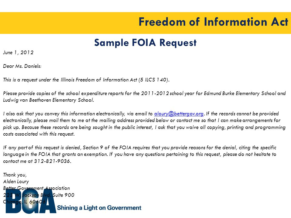Freedom of Information Act Sample FOIA Request June 1, 2012 Dear Ms.