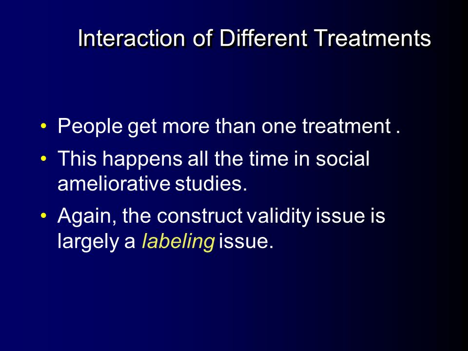 Interaction of Testing and Treatment Does the testing itself make the groups more sensitive or receptive to the treatment.