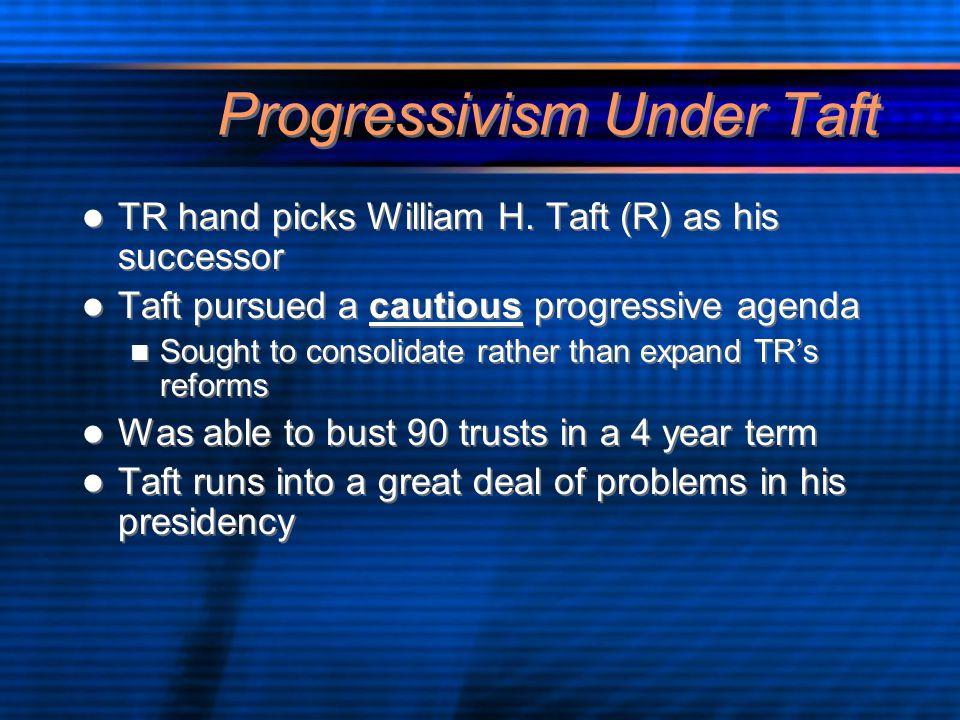 Progressivism Under Taft TR hand picks William H.