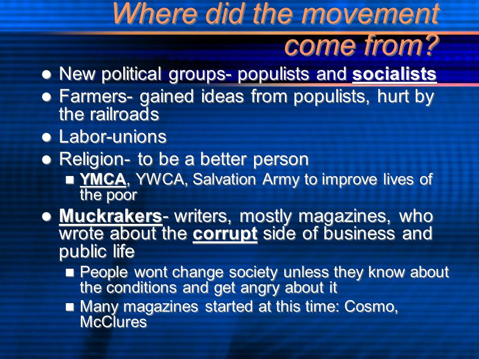 Where did the movement come from.