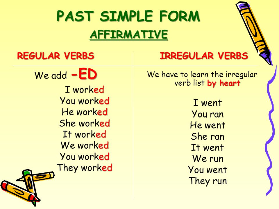 PAST SIMPLE FORM REGULAR VERBS IRREGULAR VERBS AFFIRMATIVE -ED We add -ED ed I worked ed You worked ed He worked ed She worked ed It worked ed We worked ed You worked ed They worked by heart We have to learn the irregular verb list by heart I went You ran He went She ran It went We run You went They run