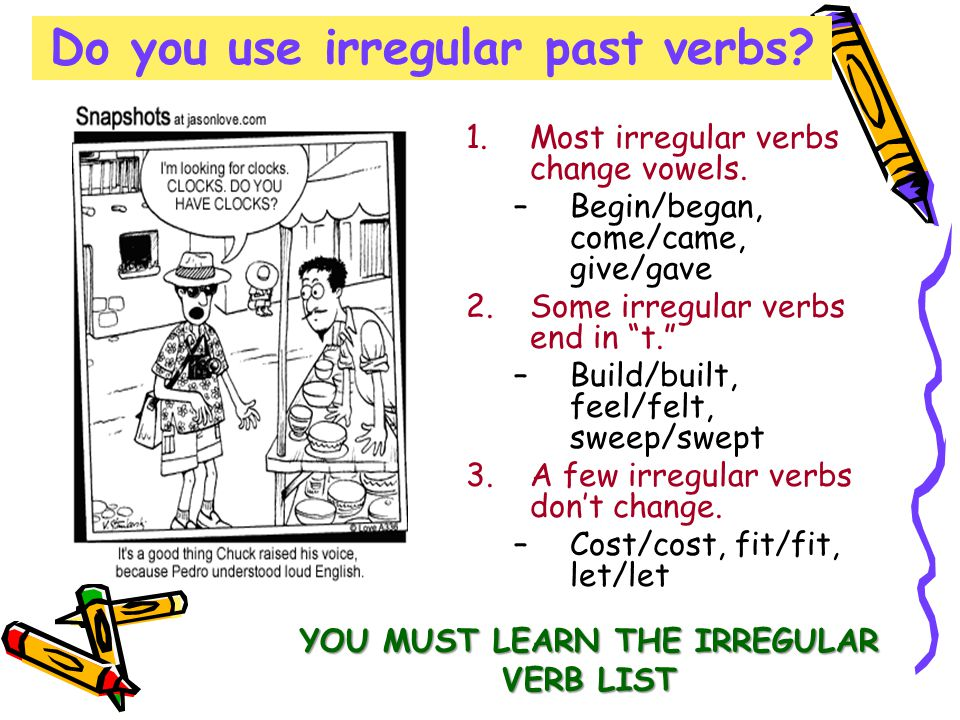 Do you use irregular past verbs. 1.Most irregular verbs change vowels.