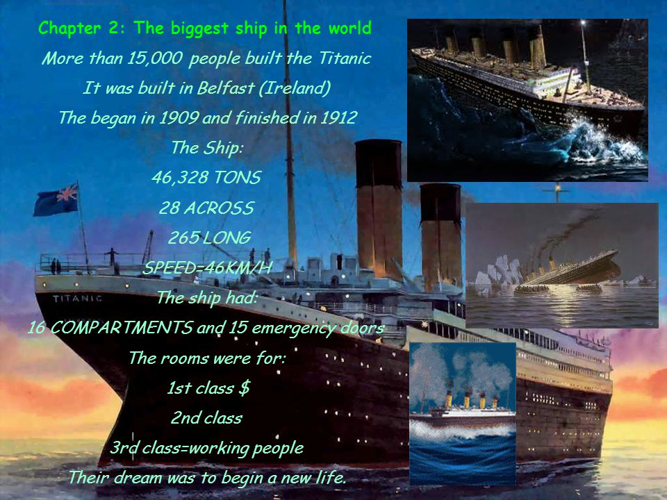 Chapter 3: A City on the sea On 10th April 1912 the Titanic started the journey to NY The ship went from Southampton(U.K) to France.