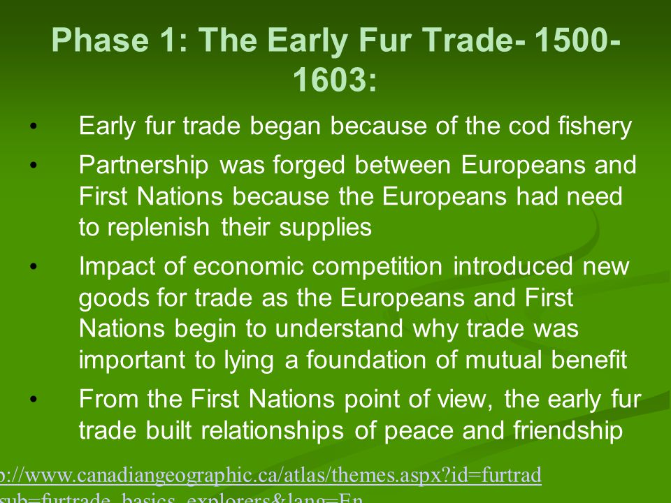 Phase 1: The Early Fur Trade- 1500- 1603: Early fur trade began because of the cod fishery Partnership was forged between Europeans and First Nations because the Europeans had need to replenish their supplies Impact of economic competition introduced new goods for trade as the Europeans and First Nations begin to understand why trade was important to lying a foundation of mutual benefit From the First Nations point of view, the early fur trade built relationships of peace and friendship http://www.canadiangeographic.ca/atlas/themes.aspx?id=furtrad e&sub=furtrade_basics_explorers&lang=En