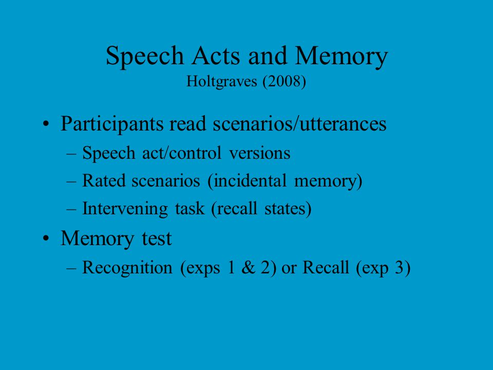 Lexical Decision Times Holtgraves & Ashley, 2001
