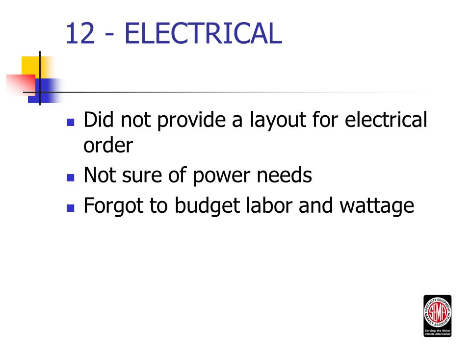 12 - ELECTRICAL Did not provide a layout for electrical order Not sure of power needs Forgot to budget labor and wattage