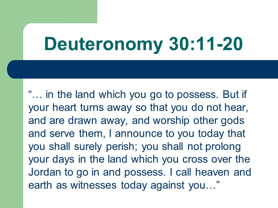 "Deuteronomy 30:11-20 ""… in the land which you go to possess. But if your heart turns away so that you do not hear, and are drawn away, and worship oth"