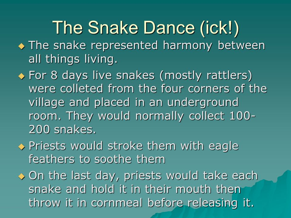The Snake Dance (ick!)  The snake represented harmony between all things living.