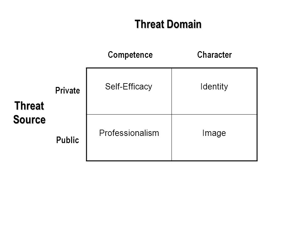 Self-EfficacyIdentity ProfessionalismImage ThreatSource Threat Domain Private CharacterCompetence Public