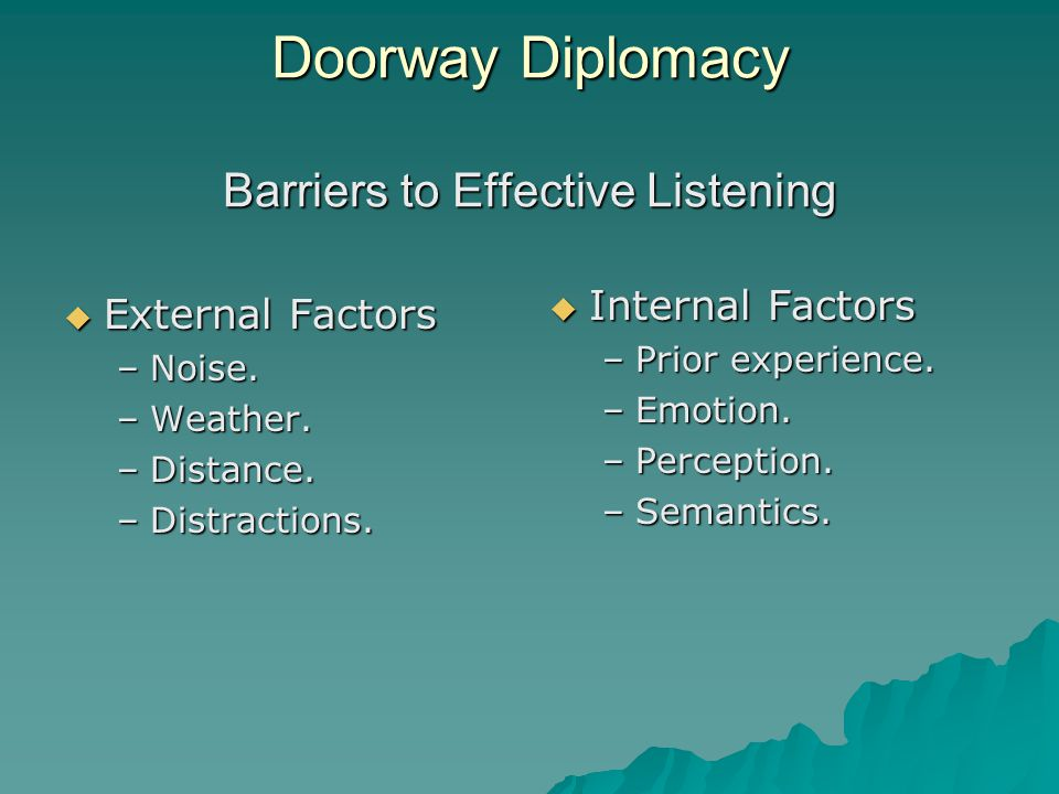 Doorway Diplomacy Barriers to Effective Listening  External Factors –Noise.