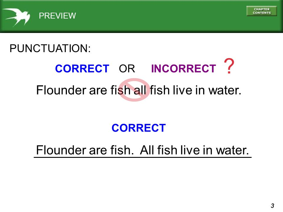 3 PREVIEW PUNCTUATION: CORRECTINCORRECT . OR Flounder are fish all fish live in water.