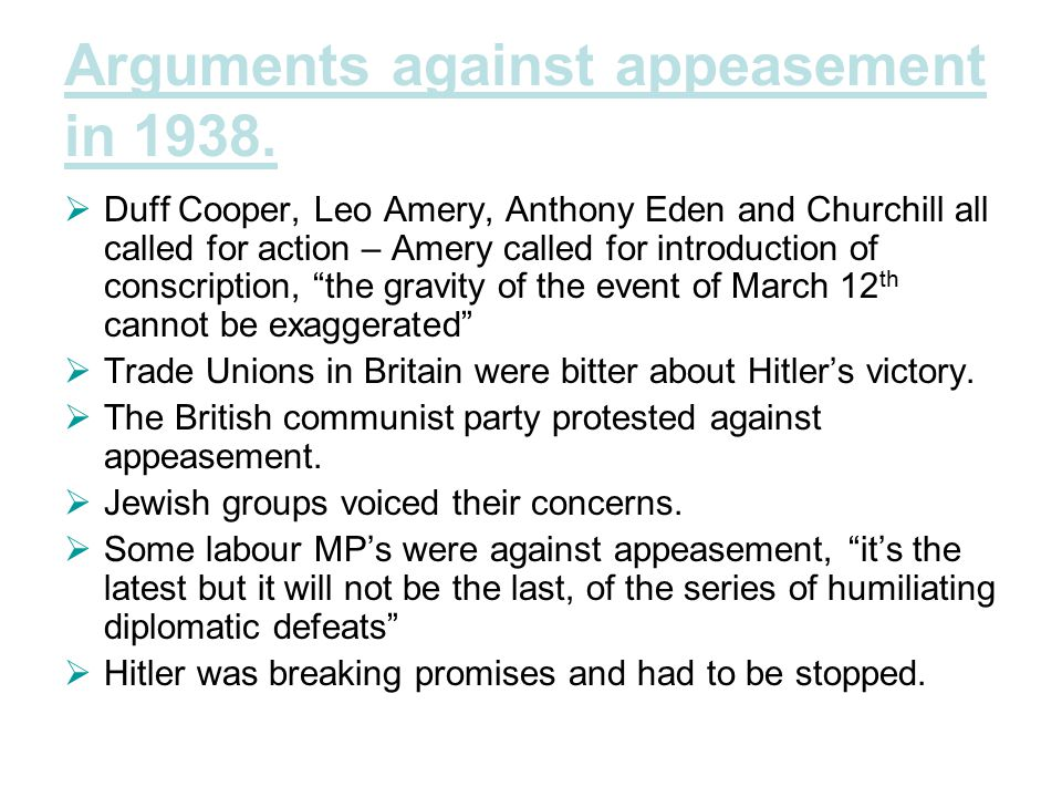 Arguments against appeasement in 1938.