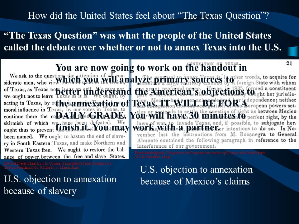 How did the United States feel about The Texas Question .