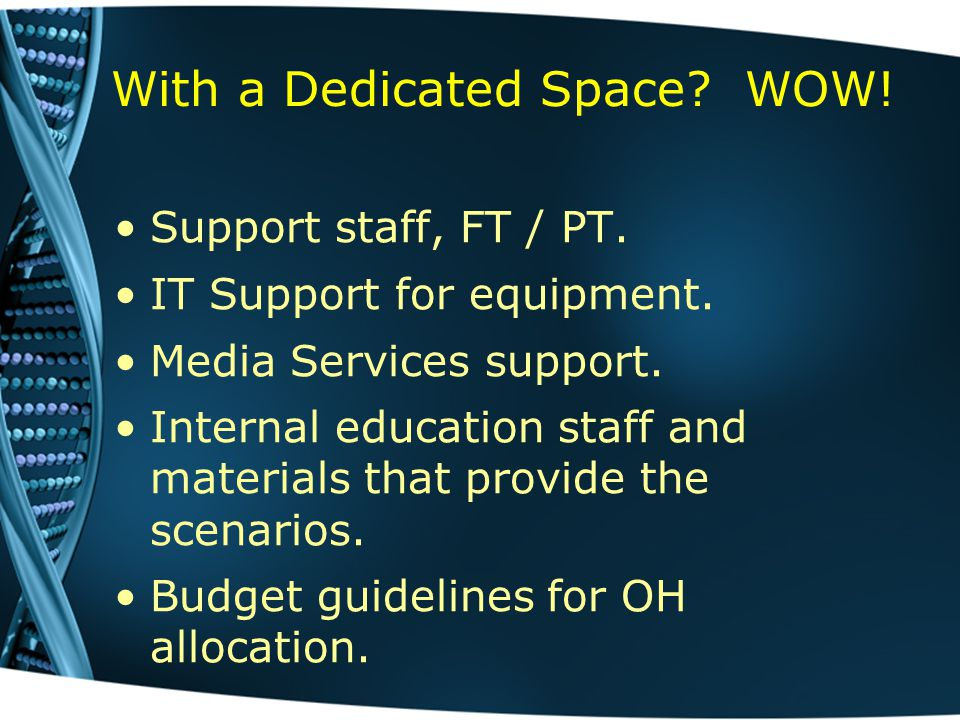 With a Dedicated Space. WOW. Support staff, FT / PT.