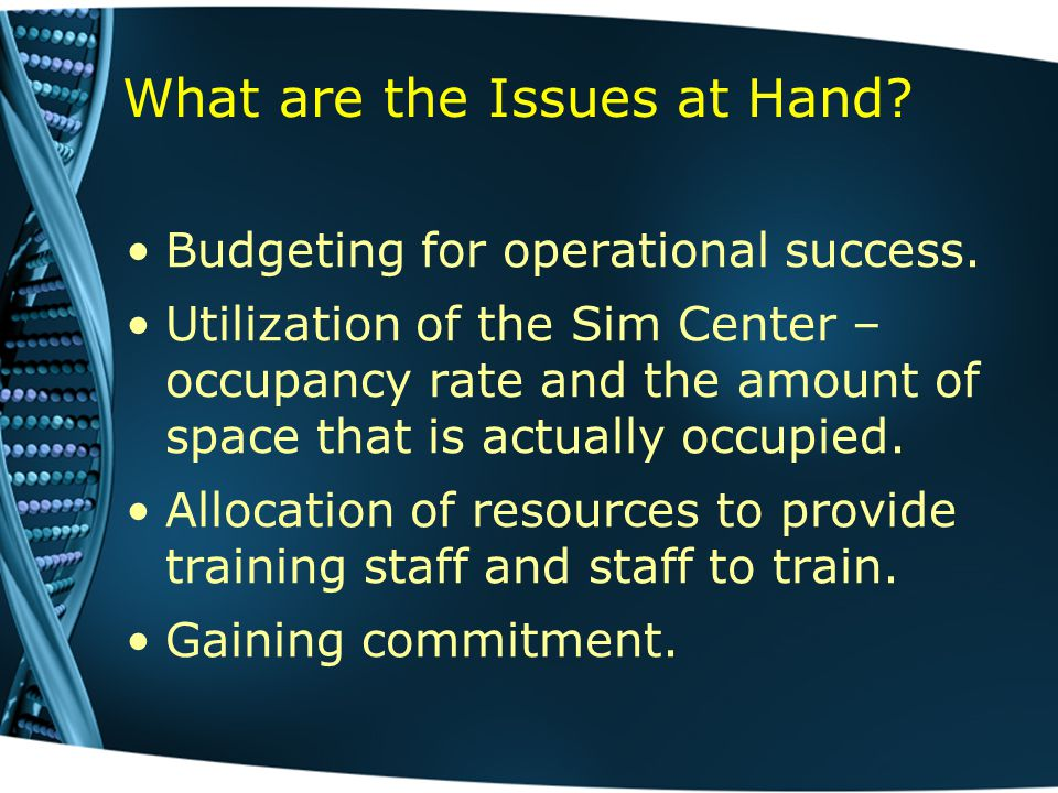 What are the Issues at Hand. Budgeting for operational success.