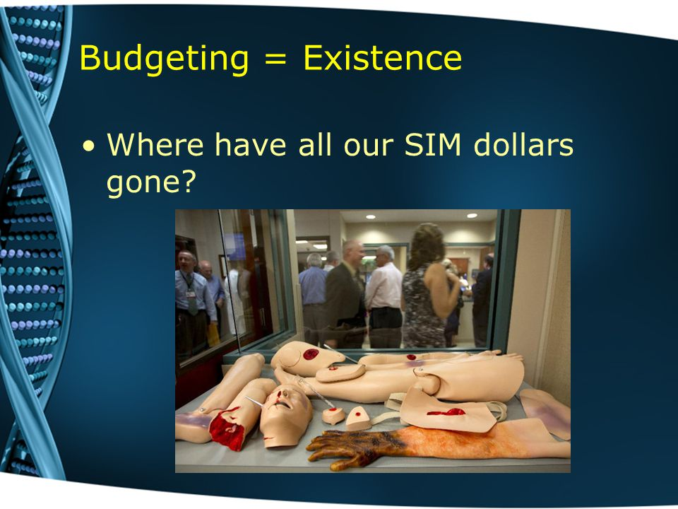 Budgeting = Existence Where have all our SIM dollars gone