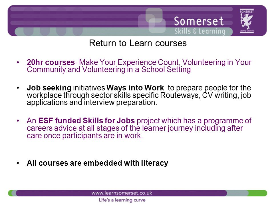 Exploring the links between the blueprint and existing programmes to return to learn courses 20hr courses make your experience count volunteering in your community malvernweather Image collections