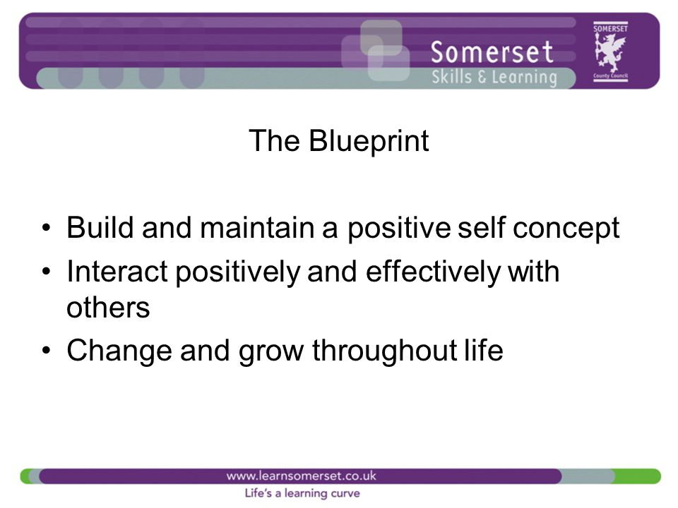 The Blueprint Build and maintain a positive self concept Interact positively and effectively with others Change and grow throughout life