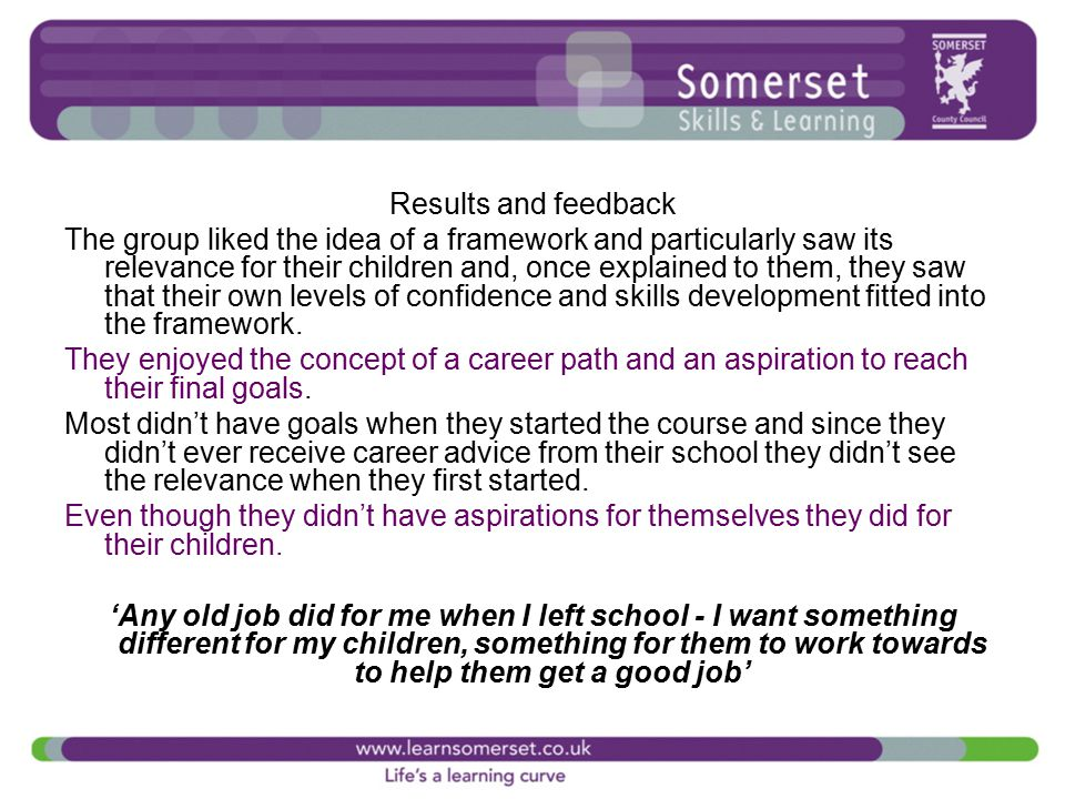 Results and feedback The group liked the idea of a framework and particularly saw its relevance for their children and, once explained to them, they saw that their own levels of confidence and skills development fitted into the framework.