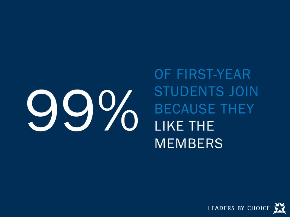 LEADERS BY CHOICE 99% OF FIRST-YEAR STUDENTS JOIN BECAUSE THEY LIKE THE MEMBERS