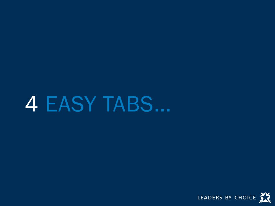 LEADERS BY CHOICE 4 EASY TABS…