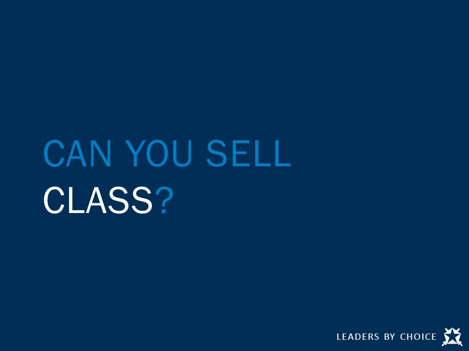 CAN YOU SELL CLASS