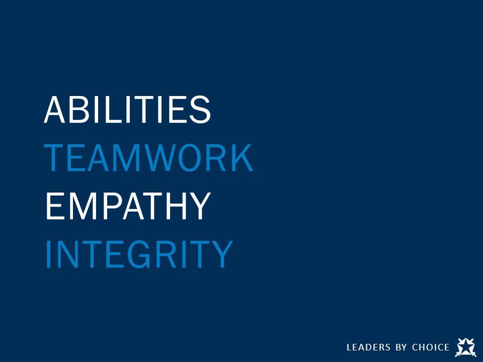 LEADERS BY CHOICE ABILITIES TEAMWORK EMPATHY INTEGRITY