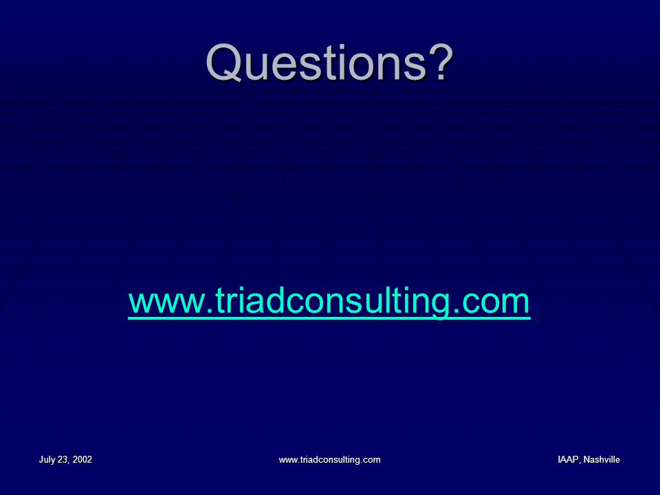 July 23, 2002www.triadconsulting.comIAAP, Nashville Questions? www.triadconsulting.com