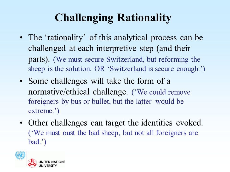 Challenging Rationality The 'rationality' of this analytical process can be challenged at each interpretive step (and their parts). (We must secure Sw