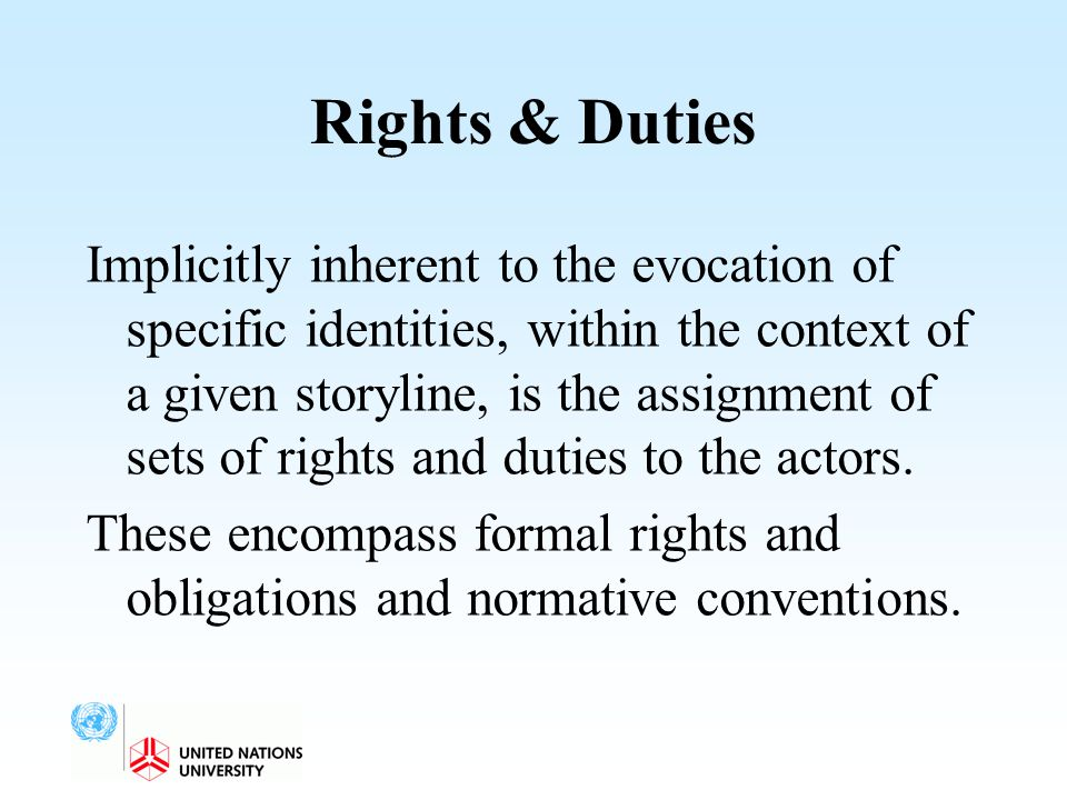 Rights & Duties Implicitly inherent to the evocation of specific identities, within the context of a given storyline, is the assignment of sets of rig
