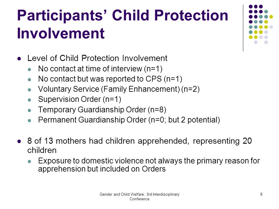 Gender and Child Welfare: 3rd Interdisciplinary Conference 8 Participants' Child Protection Involvement Level of Child Protection Involvement No conta